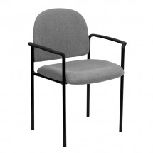 Flash Furniture BT-516-1-GY-GG Gray Fabric Comfortable Stackable Steel Side Chair with Arms
