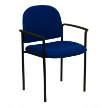 Flash Furniture BT-516-1-NVY-GG Navy Fabric Comfortable Stackable Steel Side Chair with Arms
