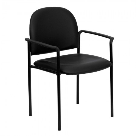 Flash Furniture BT-516-1-VINYL-GG Black Vinyl Comfortable Stackable Steel Side Chair with Arms
