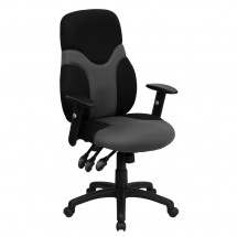 Flash Furniture BT-6001-GYBK-GG High Back Ergonomic Black and Gray Mesh Task Chair with Adjustable Arms