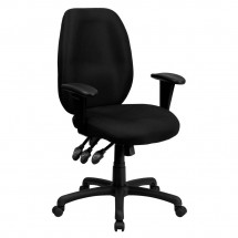 Flash Furniture BT-6191H-BK-GG High Back Black Fabric Multi-Functional Ergonomic Task Chair with Arms