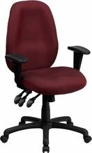 Flash Furniture BT-6191H-BY-GG High Back Burgundy Fabric Multi-Functional Ergonomic Task Chair with Arms