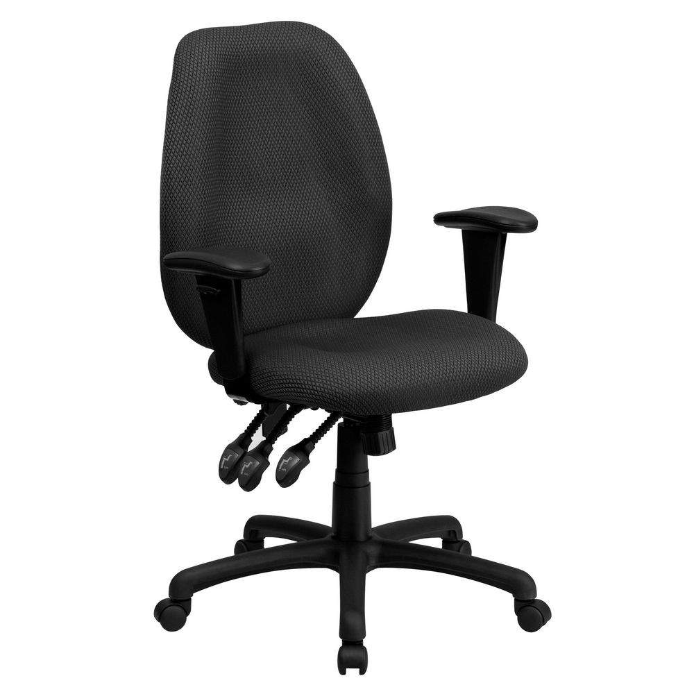 Flash Furniture BT-6191H-GY-GG High Back Gray Fabric Multi-Functional Ergonomic Task Chair with Arms