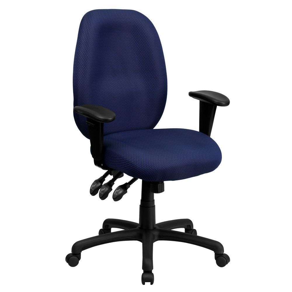 Flash Furniture BT-6191H-NY-GG High Back Navy Fabric Multi-Functional Ergonomic Task Chair with Arms