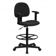 Flash Furniture BT-659-BLK-ARMS-GG Black Patterned Fabric Ergonomic Drafting Stool with Arms