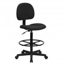 Flash Furniture BT-659-BLK-GG Black Patterned Fabric Ergonomic Drafting Stool