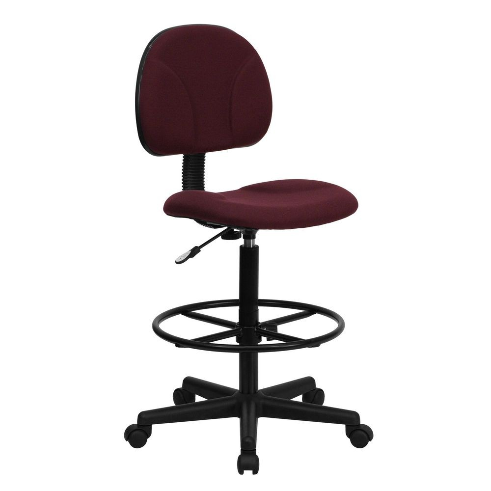 Flash Furniture BT-659-BY-GG Burgundy Fabric Ergonomic Drafting Stool