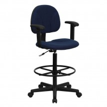 Flash Furniture BT-659-NVY-ARMS-GG Navy Blue Patterned Fabric Ergonomic Drafting Stool with Arms