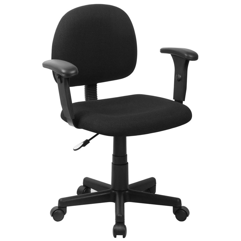 Flash Furniture BT-660-1-BK-GG Mid-Back Ergonomic Black Fabric Task Chair with Adjustable Arms
