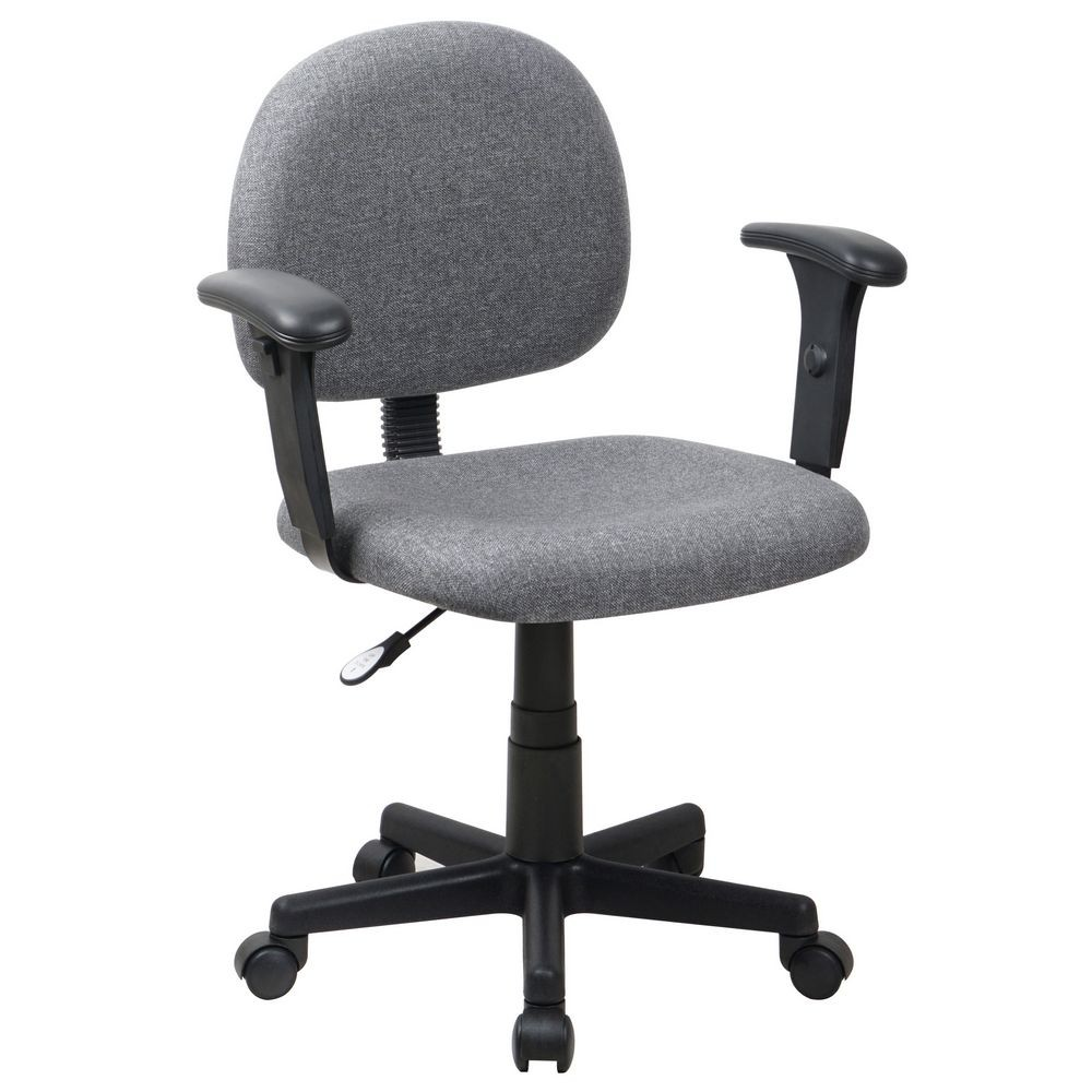 Flash Furniture BT-660-1-GY-GG Mid-Back Ergonomic Gray Fabric Task Chair with Adjustable Arms