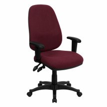 Flash Furniture BT-661-BY-GG High Back Burgundy Fabric Ergonomic Computer Chair with Height Adjustable Arms