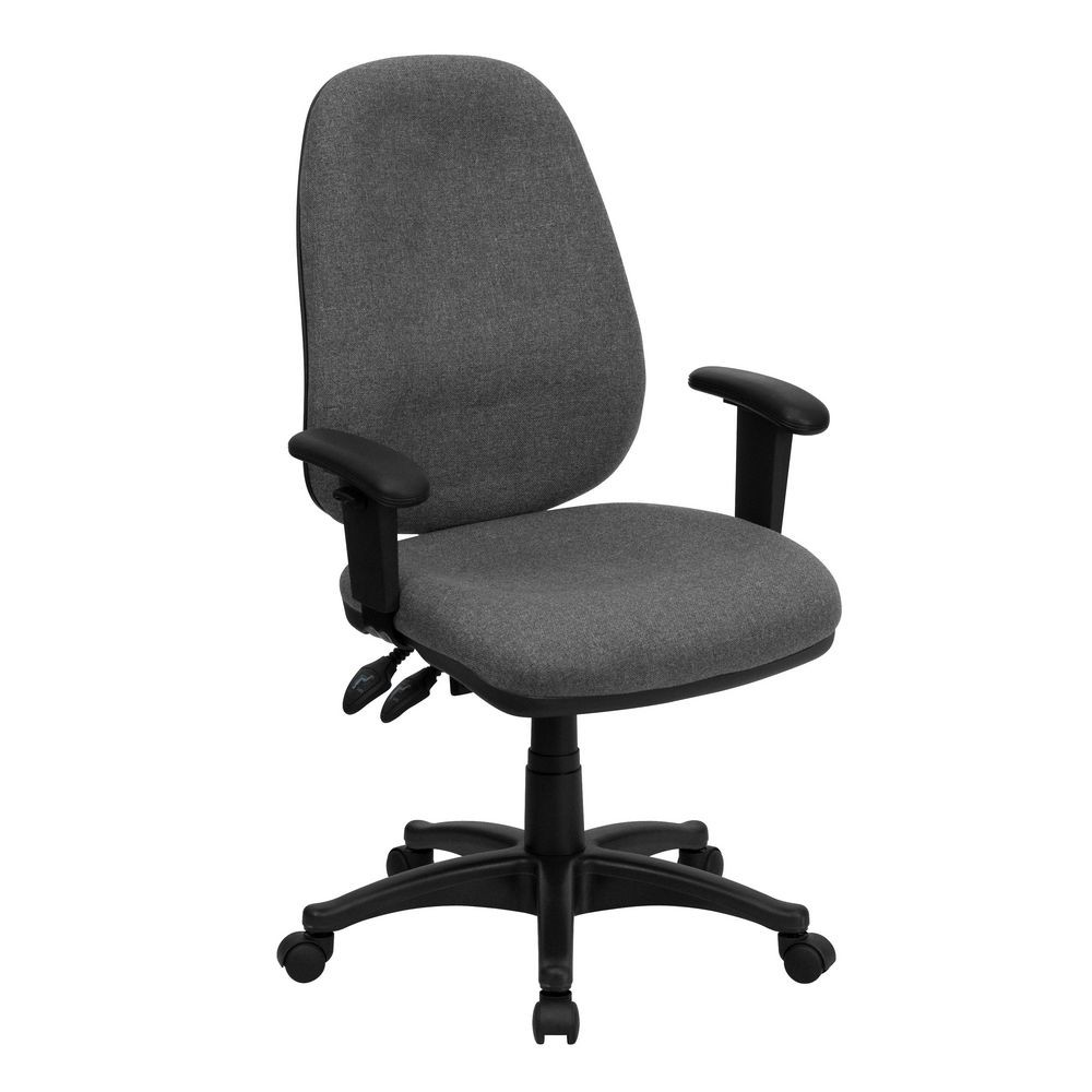 Flash Furniture BT-661-GR-GG High Back Gray Fabric Ergonomic Computer Chair with Height Adjustable Arms