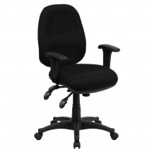 Flash Furniture BT-662-BK-GG Mid-Back Multi-Functional Black Fabric Swivel Computer Chair