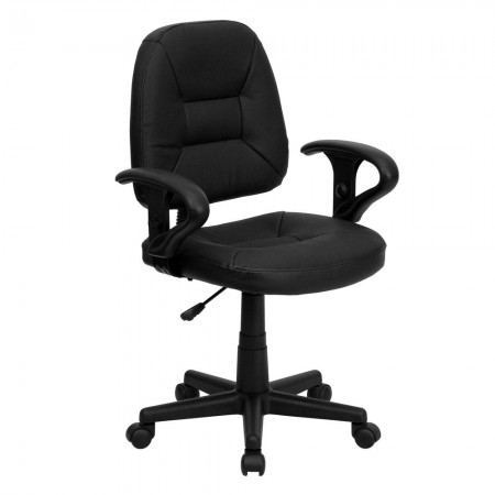 Flash Furniture BT-682-BK-GG Mid-Back Black Leather Ergonomic Task Chair with Arms