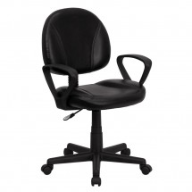 Flash Furniture BT-688-BK-A-GG Mid-Back Black Leather Ergonomic Task Chair with Arms