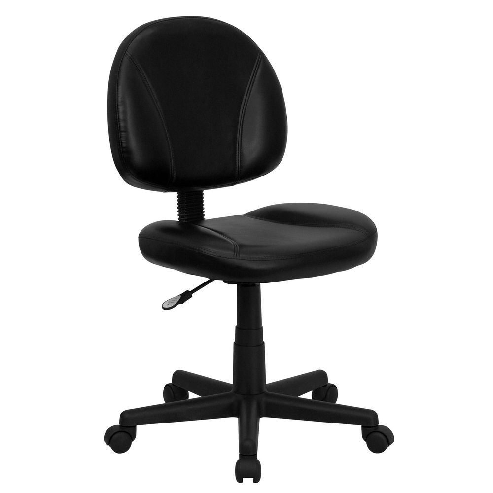 Flash Furniture BT-688-BK-GG Mid-Back Black Leather Ergonomic Task Chair