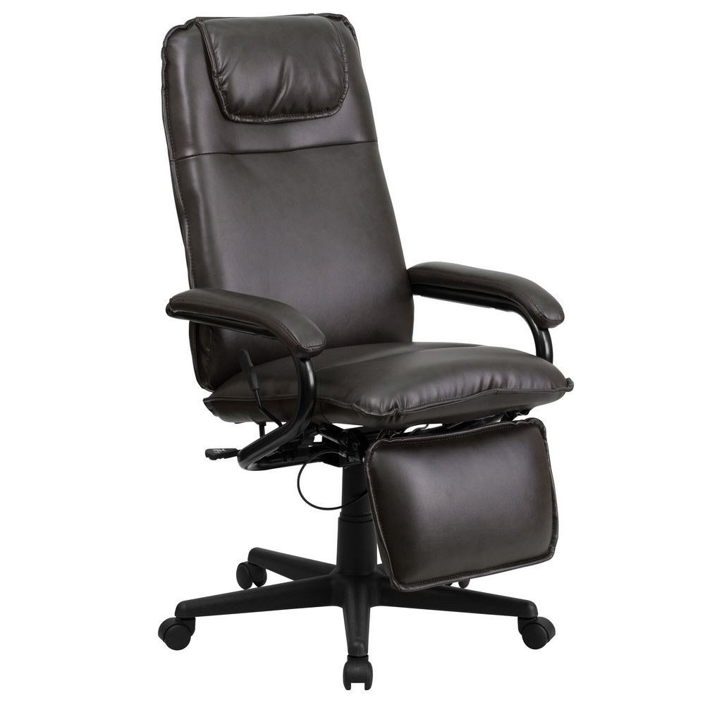 Flash Furniture BT-70172-BN-GG High Back Brown Leather Executive Reclining Office Chair