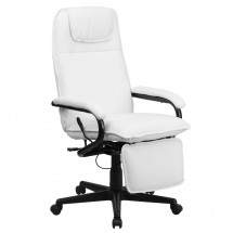 Flash Furniture BT-70172-WH-GG High Back White Leather Executive Reclining Office Chair