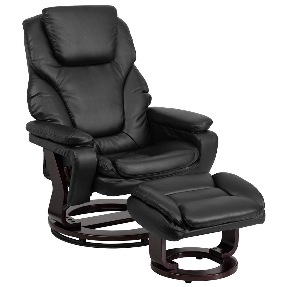 Flash Furniture BT-70222-BK-FLAIR-GG Contemporary Black Leather Recliner and Ottoman with Swiveling Mahogany Wood Base