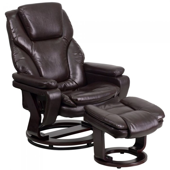 Flash Furniture BT-70222-BRN-FLAIR-GG Contemporary Brown Leather Recliner and Ottoman with Swiveling Mahogany Wood Base