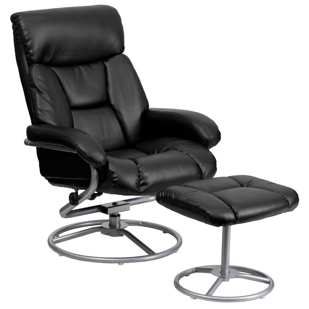 Flash Furniture BT-70230-BK-CIR-GG Contemporary Black Leather Recliner and Ottoman with Metal Base