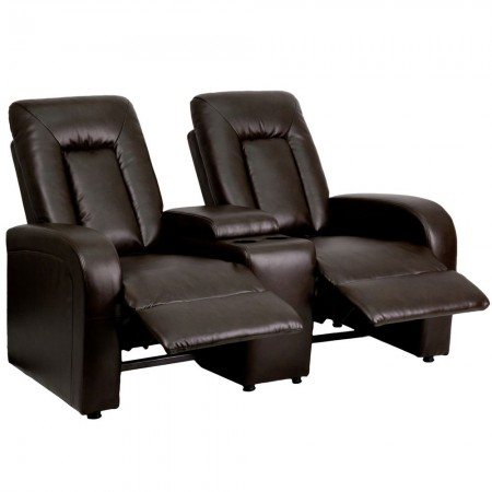 Flash Furniture BT-70259-2-BRN-GG Eclipse 2-Seat Brown Leather Home Theater Recliner with Cup Holders