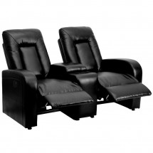 Flash Furniture BT-70259-2-P-BK-GG Eclipse 2-Seat Power Reclining Black Leather Theater Seating Unit with Cup Holders