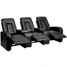 Flash Furniture BT-70259-3-BK-GG Black Leather Home Theater Recliner with Storage Consoles, 3-Seat