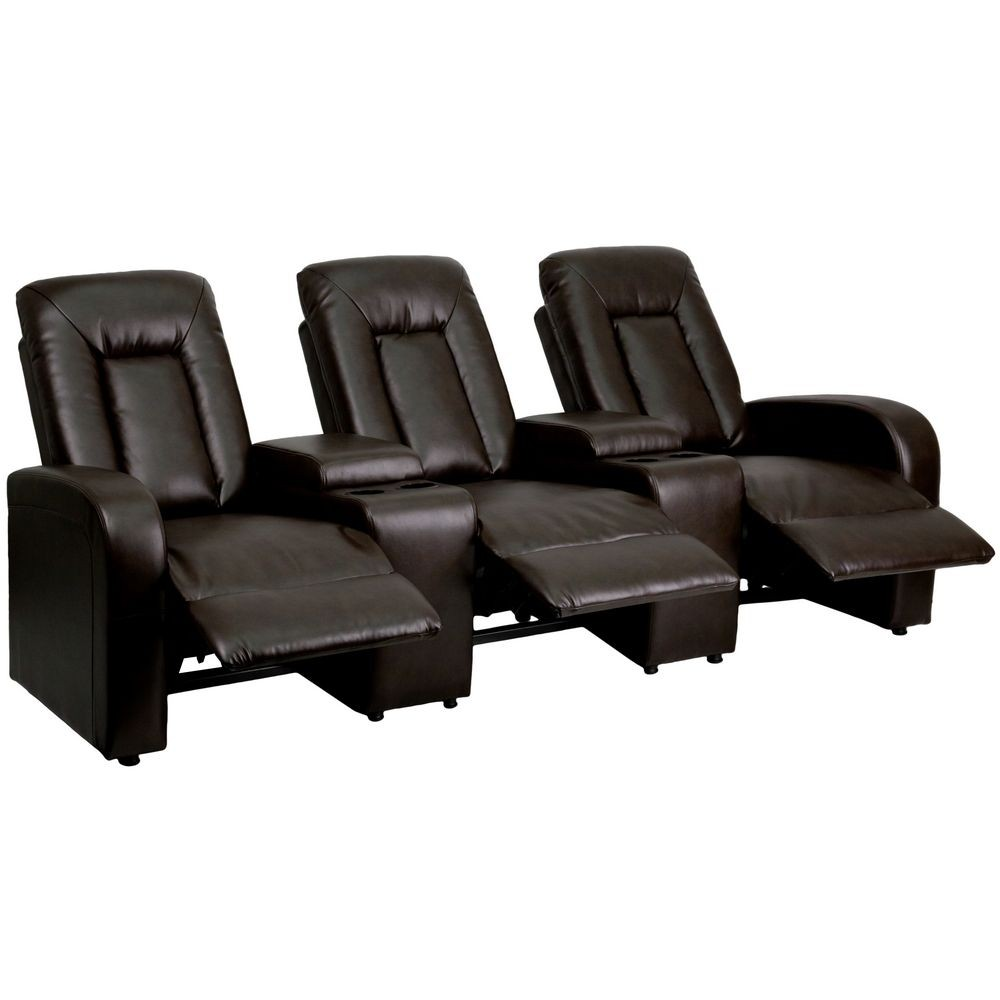 Flash Furniture BT-70259-3-BRN-GG Brown Leather Home Theater Recliner with Storage Consoles, 3-Seat
