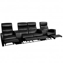 Flash Furniture BT-70273-4-BK-GG Black Leather Home Theater Recliner with Storage Consoles, 4-Seat