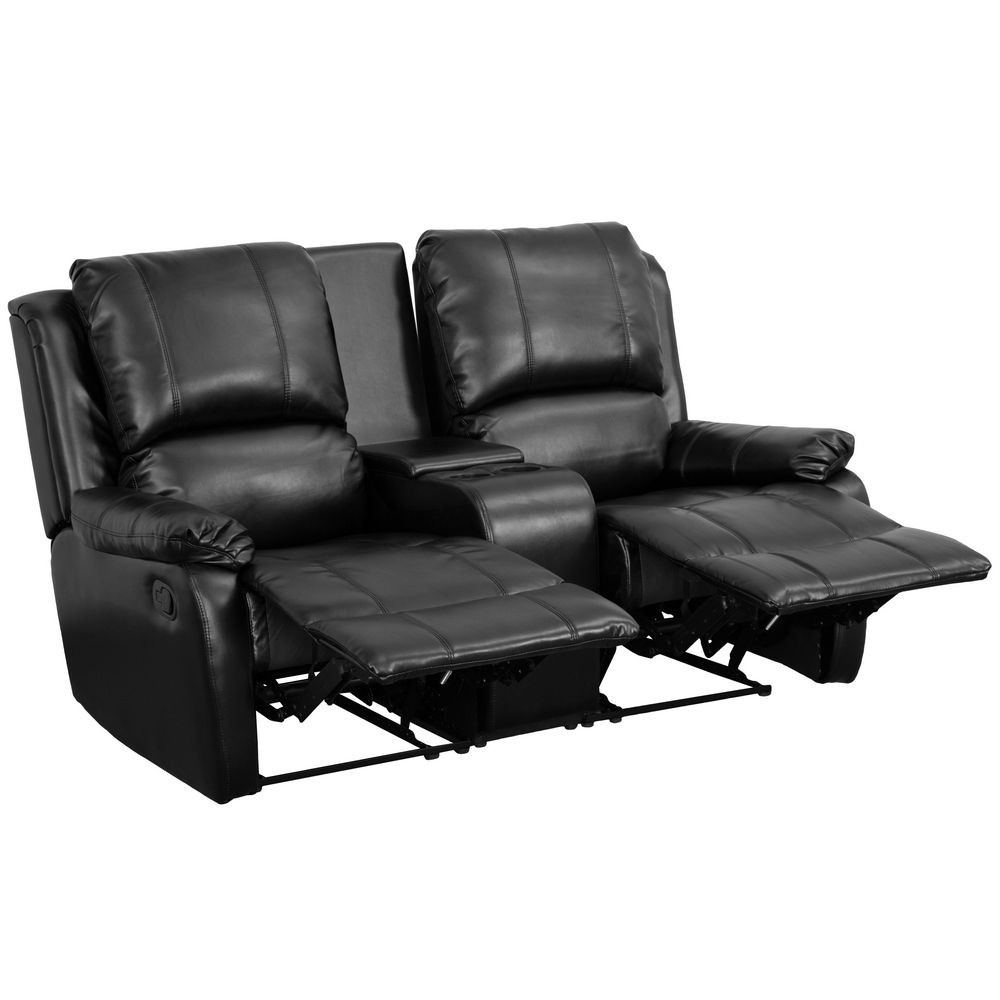 Flash Furniture BT-70295-2-BK-GG Black Leather Home Theater Recliner with Storage Console, 2-Seat