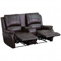 Flash Furniture BT-70295-2-BRN-GG Brown Leather Home Theater Recliner with Storage Console, 2-Seat