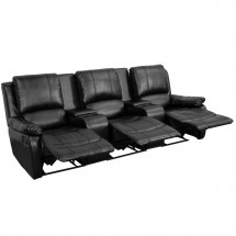 Flash Furniture BT-70295-3-BK-GG Black Leather Home Theater Recliner with Storage Consoles, 3-Seat