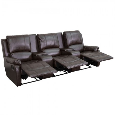 Flash Furniture BT-70295-3-BRN-GG Allure 3-Seat Pillow Back Brown Leather Home Theater Recliner with Cup Holders