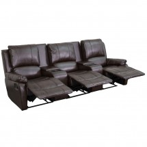 Flash Furniture BT-70295-3-BRN-GG Brown Leather Home Theater Recliner with Storage Consoles, 3-Seat