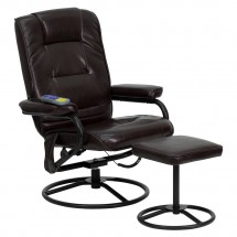 Flash Furniture BT-703-MASS-BN-GG Massaging Brown Leather Recliner and Ottoman with Metal Bases