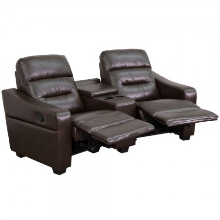 Flash Furniture BT-70380-2-BRN-GG Futura 2-Seat Reclining Brown Leather Theater Seating Unit with Cup Holders