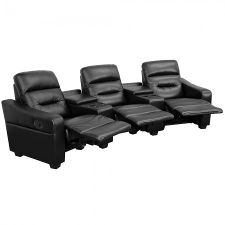 Flash Furniture BT-70380-3-BK-GG Futura 3-Seat Reclining Black Leather Theater Seating Unit with Cup Holders
