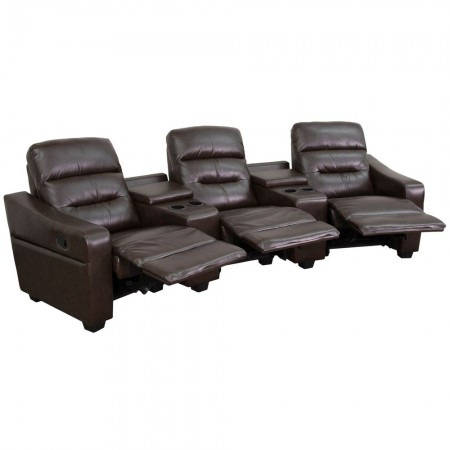 Flash Furniture BT-70380-3-BRN-GG Futura 3-Seat Reclining Brown Leather Theater Seating Unit with Cup Holders