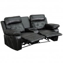 Flash Furniture BT-70530-2-BK-CV-GG Reel Comfort 2-Seat Reclining Black Leather Theater Seating Unit with Curved Cup Holders