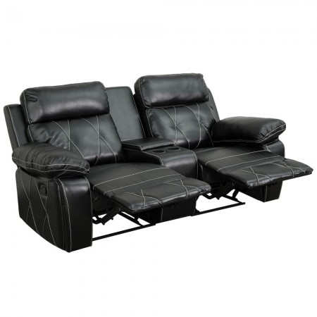Flash Furniture BT-70530-2-BK-GG Reel Comfort 2-Seat Reclining Black Leather Theater Seating Unit with Straight Cup Holders