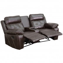 Flash Furniture BT-70530-2-BRN-CV-GG Reel Comfort 2-Seat Reclining Brown Leather Theater Seating Unit with Curved Cup Holders