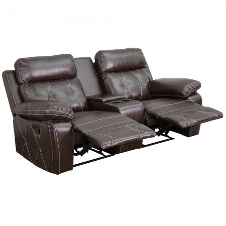Flash Furniture BT-70530-2-BRN-GG Reel Comfort 2-Seat Reclining Brown Leather Theater Seating Unit with Straight Cup Holders