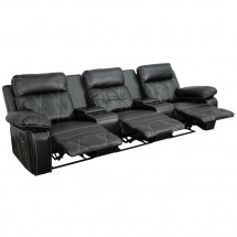 Flash Furniture BT-70530-3-BK-GG Reel Comfort 3-Seat Reclining Black Leather Theater Seating Unit with Straight Cup Holders