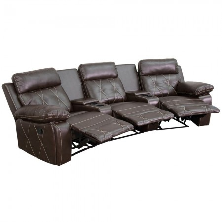 Flash Furniture BT-70530-3-BRN-CV-GG Reel Comfort 3-Seat Reclining Brown Leather Theater Seating Unit with Curved Cup Holders