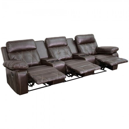 Flash Furniture BT-70530-3-BRN-GG Reel Comfort 3-Seat Reclining Brown Leather Theater Seating Unit with Straight Cup Holders