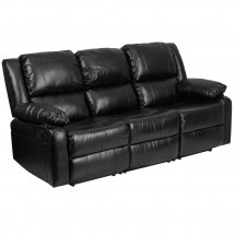 Flash Furniture BT-70597-SOF-GG Harmony Series Black Leather Sofa with Two Built-In Recliners