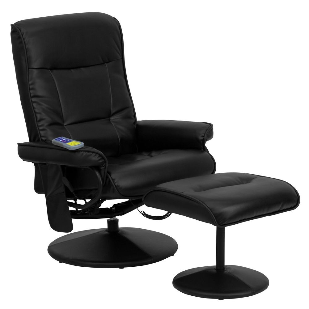 Flash Furniture BT-7320-MASS-BK-GG Massaging Black Leather Recliner and Ottoman with Leather Wrapped Base