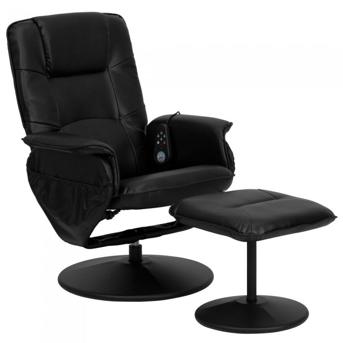 Flash Furniture BT-753P-MASSAGE-BK-GG Massaging Black Leather Recliner and Ottoman with Leather Wrapped Base