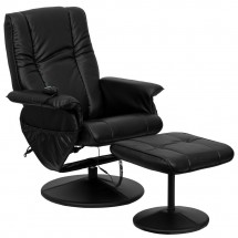 Flash Furniture BT-7600P-MASSAGE-BK-GG Massaging Black Leather Recliner and Ottoman with Leather Wrapped Base